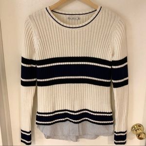 Zara Knit Striped Sweater with Attached Shirt Tail